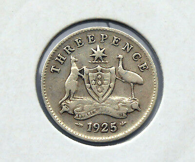 1925  Australian  King George  V  Threepence,  good value. save dollars, $$$