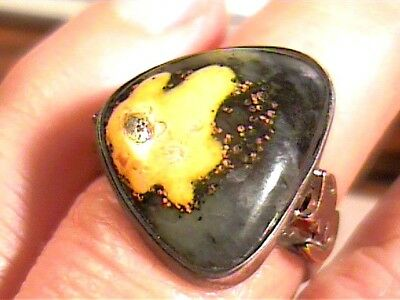 Eclipse Agate  Sterling Silver 925 Ring 8 Natural Complex Old Bold Elegant
