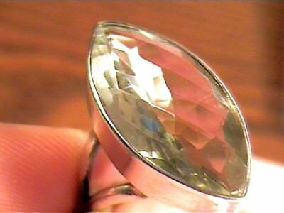RING 5.5 green AMETHYST faceted STERLING 925 SILVER estate bold natural real ele