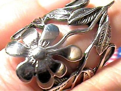 Sterling silver 925 ring band floral  7.5 art, spring bold simple nice handmade