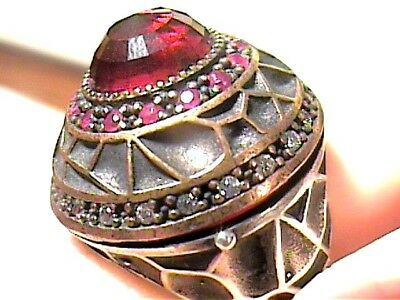 Vintage Antique Ruby Silver Ring 6.75  Medieval Sapphire Sterling 925 Cocktail
