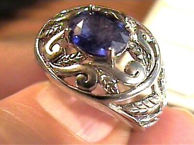 SILVER RING 6.5 ROYAL BLUE STERLING 925 floral oval bold elegant nice