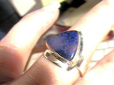 Natural LAPIS LAZULI RING 10 sterling silver 925 bold elegant nice texture WOW