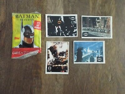 Batman Batman Returns Trade Cards - Lot Of 121 Cards / Stickers 1 Unopened Pack