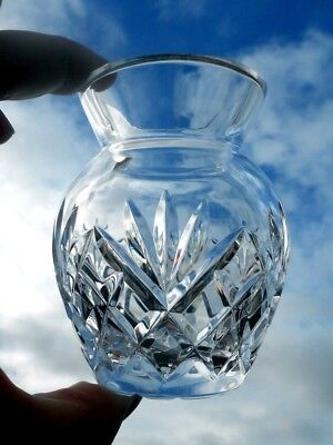"""Galway Irish Crystal 4"""" Posy Vase Signed 'Old Clare' Heavyweight 1/4"""" Thick"""