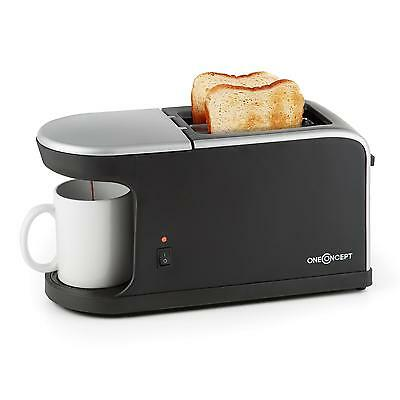 oneConcept Quickie 2-en-1 Toaster double fente Mini machine à café tasse incluse