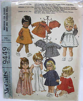 "Vintage 1968 McCall's Wardrobe for Chubby & Toddler Dolls Pattern Doll 12""-16"""