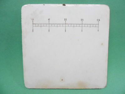 antique Ceramic Scale Plate, 8 in. sq., w/ graduated # scale. From old Pharmacy