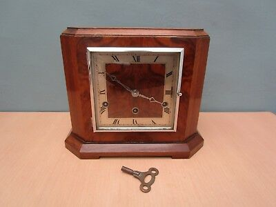 Vintage Art Deco Westminster Chime Mantle Clock With Fhs Movement & Key