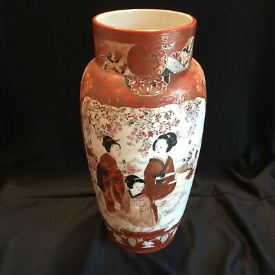 "Large 14"" Antique Japanese Meiji Period Kutani Porcelain Vase w/ 3 Geisha Girls"