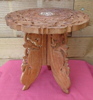 Vintage Indian Leaf Hand Carved Solid Folding Wooden Side Table With Inlaid Top