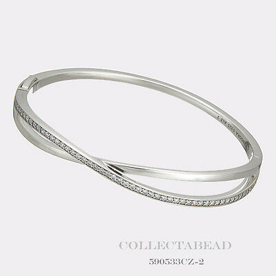 ace78f709 Authentic Pandora Sterling Silver Entwined Clear CZ Bangle Size 6.3