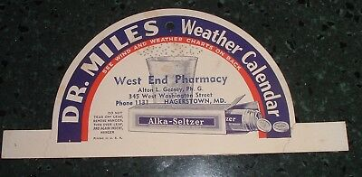 Antique Advertising Dr. Miles hanger / Sign West End Pharmacy Hagerstown MD