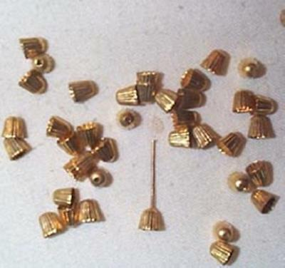 Vintage Brass Cap For Glass Beads Or Drops   60 Pcs  For Your Repair Work