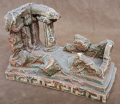 Greek Roman Temple Ruins Business Card Holder Sculpture Antique Vintage Finish