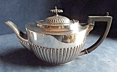 GOOD Large ~ SILVER Plated ~ BULBOUS Fluted ~ TEAPOT ~ c1920 by James Deakin