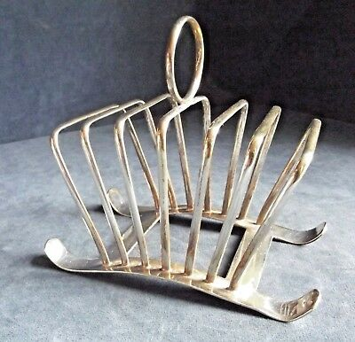 "GOOD 6"" ~ ART DECO Styled ~ SILVER Plated ~ TOAST / Letter RACK ~ c1930"