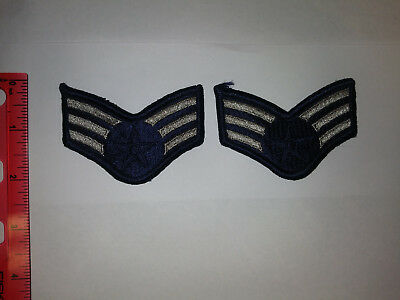 US AIR FORCE set/2 old style Senior Airman (E-4) Stripes - Blues - Military