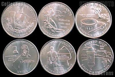 2009 P or D  DC and US Territories Quarters 6 Coins from US mint rolls Coins