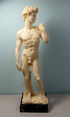 """Michelangelo's David 12""""  Statue on marble stand Sculptor G. Ruggeri Italy *307"""