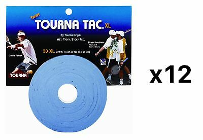 Tourna Tac Tennis Racquet Over Grip 30 XL Blue Overgrips Tacky Feel (12-Pack)