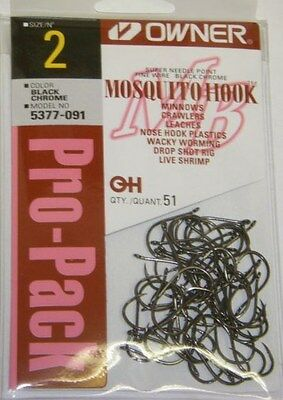 Owner Mosquito Hook Bass Fishing Black Chrome Fine Wire #5377-091 Sz 2 Qty 51