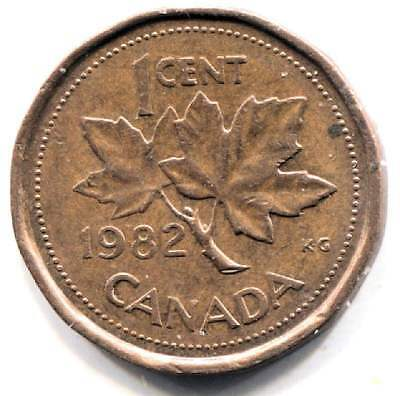 1982 Canadian Maple Leaf One Cent Coin - Canada Penny - Queen Elizabeth II