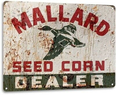 Mallard Seed Corn Vintage Farming Rustic Metal Tin Sign