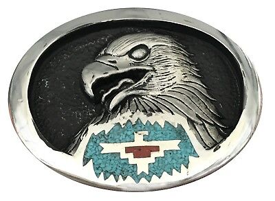 Vtg Eagle Belt Buckle Turquoise Inlay Stone Coral Engraved Bald Hawk Wings Bird