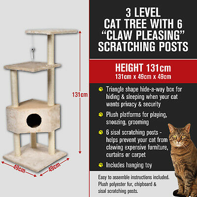 3 Multi Level Cat Kitten Tree Scratching Pole Post Tower Furniture Large 131cm