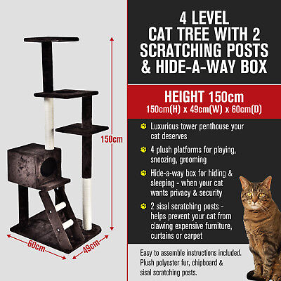 4 Multi Level Cat Kitten Tree Scratching Post Tower Furniture Hideaway 150cm