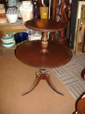 Mahogany End Table Vintage Antique 2 Tier Duncan Phyfe Dumbwaiter