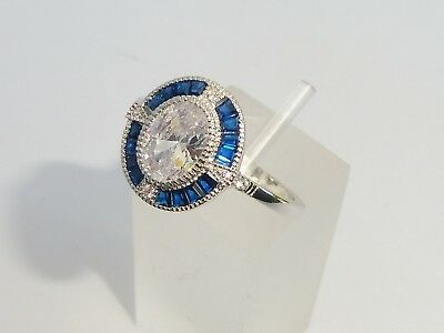 Ladies Art Deco Halo Design 925 Sterling Solid Silver Blue & White Sapphire Ring