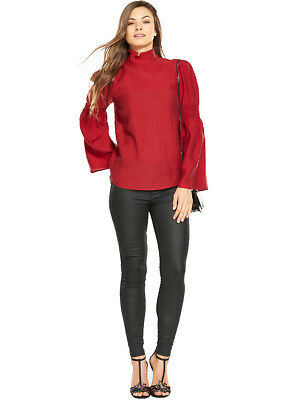 V by Very High Neck Fluted Sleeve Top