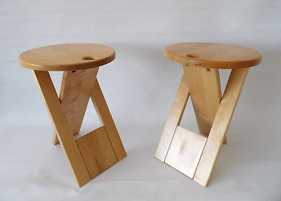 Very Rare Pair Roger Tallon Folding Stool 1970s P.Chapo Paulin Eames Knoll era