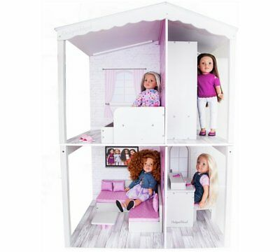 Chad Valley Designafriend Wooden Dolls House Decorated In Pink-And-White NEW_UK