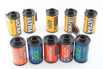 10 Old EXPOSED FILMS 35mm Colour Kodak ULTRA & others LUCKY DIP!