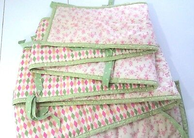 Simplicity Baby Bumper For Crib Pink Beige Green Floral and Harlequin Prints