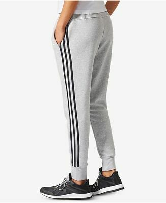 NEW adidas Women's Essential Cotton Fleece 3-Stripe Jogger Pants Grey/Black