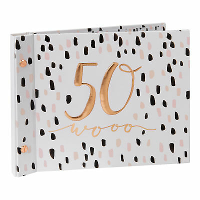 Pink 50th Birthday Guest Book With Photo Album Gift boxed Luxe by Hotchpotch