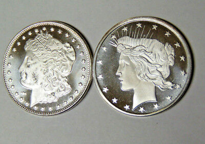Lot of 2: Morgan Dollar and Peace Dollar Design 1 oz .999 Silver Rounds (82818)