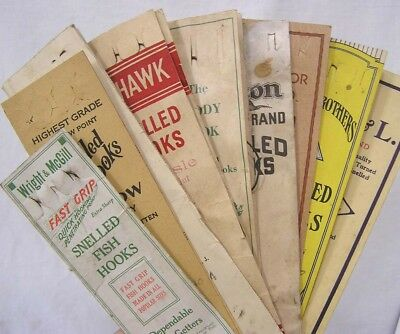Vintage Fishing Advertising Pouch Holds NINE Different Fish Hook Packs 1930s-50s