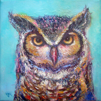Owl no.17 Original oil painting palette knife Textured colorful Wildlife animal