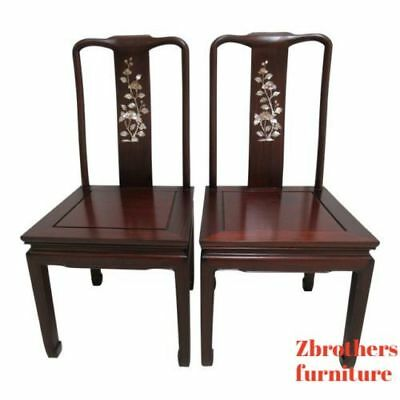 2 Vintage Rosewood Chinese Chippendale Mother Of Pearl Dining Room Side Chairs B