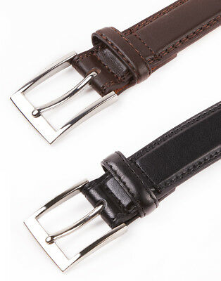 Embargo Mens Twin Stitched Narrow Belt Smart Casual Faux Leather Belt Gift