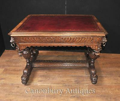 Antique Library Table Desk - Hand Carved Oak 19th Century
