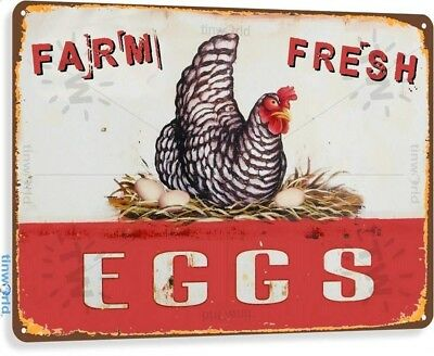Farm Fresh Eggs Vintage Rustic Retro Tin Metal Sign