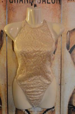 vtg 80-90's SHIRLEY HOLLYWOOD Bodysuit Teddy Gold Floral Stretch Lace Thong xs-s