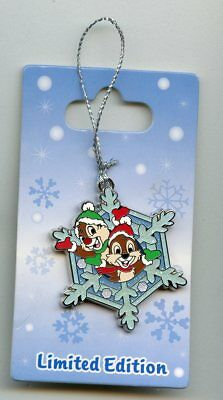 Disney Winter Snowflake Ornaments - Chip and Dale Hanging LE Pin & Card