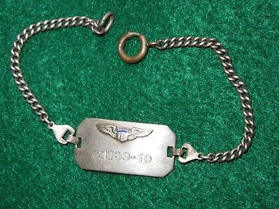 WWII US Army Air Force Pilot Wings 1939 - 1940 Bracelet Chain STERLING AAF